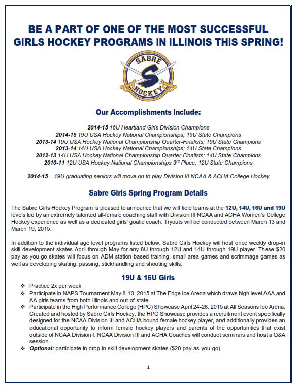 sabre girls spring flyer 1 2015