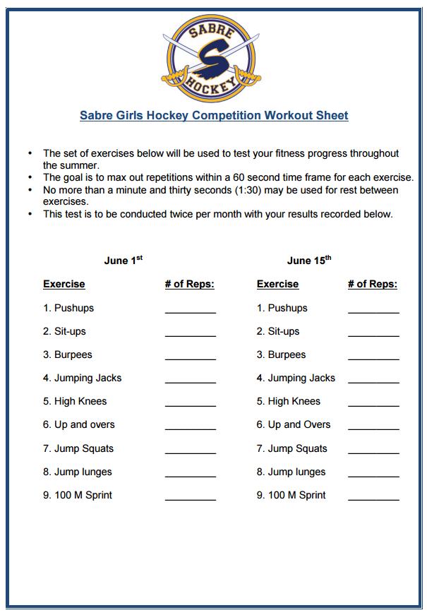 Competition Workout Sheet Sabre Girls Hockey – Workout Sheet
