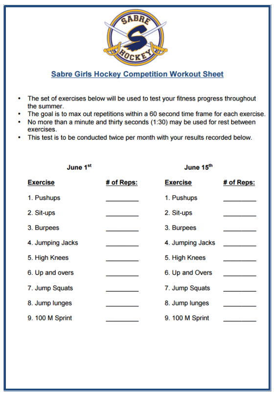 Competition Workout Sheet 1