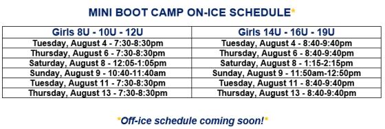 Mini Boot Camp Schedule