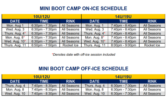 2016 boot camp schedule only